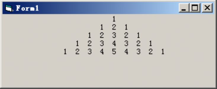 "VB编程:编写程序,打印如下所示的""数字金字塔"""