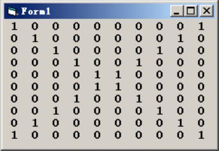 VB编写程序,建立并输出一个10*10的矩阵,该矩阵两条对角线元素为1,其余元素均为0。