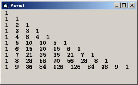 "VB编程:编写程序,输出""杨辉三角形""。"