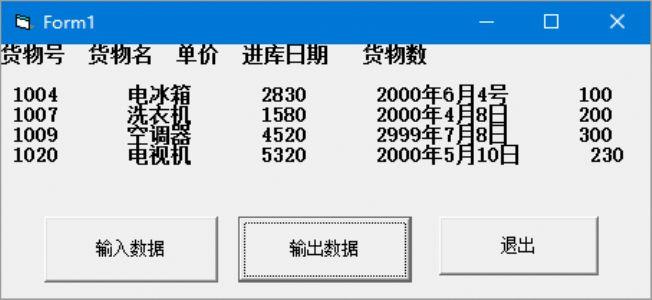 编写一个程序,输入某仓库的货物数据,建立—个顺序文件。每次从键盘上输入一种货物的数据,包括货物号、名称、单价、进库日期和数量。建立文件后,输出全部内容。